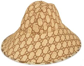 Gucci GG wide brim hat with snakeskin