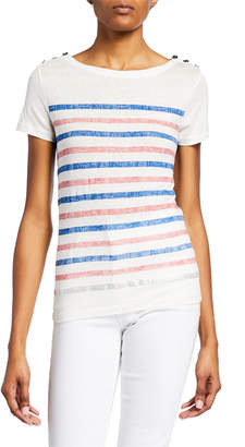 Majestic Striped Boat-Neck Short-Sleeve Tee with Button Shoulders