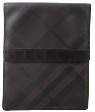 Burberry Leather Smoked Check iPad Case brown Leather Smoked Check iPad Case