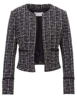 BOSS Hugo Cropped blazer in Italian tweed studded tape details 4 Patterned