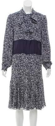 Michael Kors Printed Silk Midi Dress