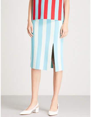 Diane von Furstenberg Striped stretch-jersey midi skirt