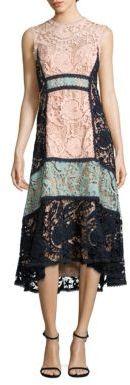 Nanette Lepore Colorblock Lace Midi Dress $698 thestylecure.com