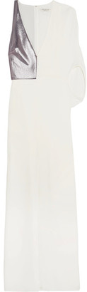 Halston Heritage - Lamé-paneled Stretch-crepe Gown - White $425 thestylecure.com