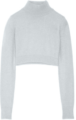 Balmain - Cropped Angora-blend Turtleneck Sweater - Stone $985 thestylecure.com