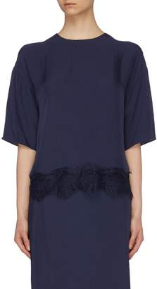 Vince Chantilly lace trim twill top