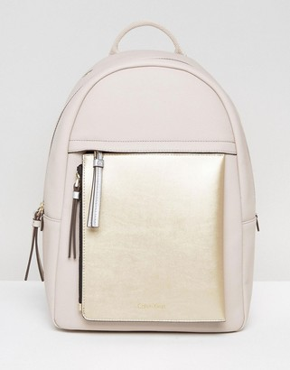 Calvin Klein Charly Front Zip Detachable Pouch Backpack $153 thestylecure.com