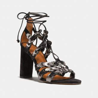 Coach Lace Up Heel Sandal With Link