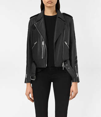AllSaints Badge Balfern Leather Biker Jacket