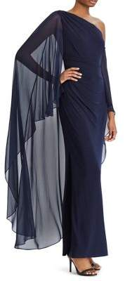 Lauren Ralph Lauren Georgette Cape Overlay Floor-Length Gown