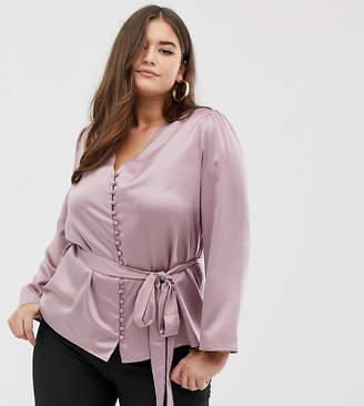 Fashion Union Plus satin button front blouse