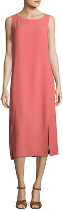 Eileen Fisher Silk Georgette Crepe Midi Tank Dress Coral