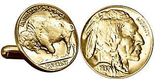 Buffalo David Bitton American Coin Treasures Gold-Layered Nickel Cuff Links