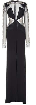 Dundas Crystal Embellished Illusion Long Sleeve Gown