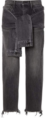 Alexander Wang Tie-front Frayed High-rise Straight-leg Jeans - Dark gray