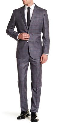 English Laundry Gray Windowpane Two Button Peak Lapel Trim Fit Suit $395 thestylecure.com