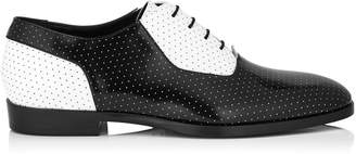 Jimmy Choo TYLER Black and White Dotted Shiny Calf Leather Lace Up Shoes