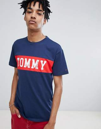 Tommy Jeans cut & sew panel logo t-shirt in navy