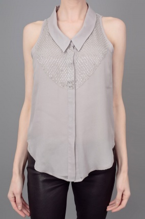 Rory Beca Clifford Sleeveless Button Down Tank w/Beaded Detail