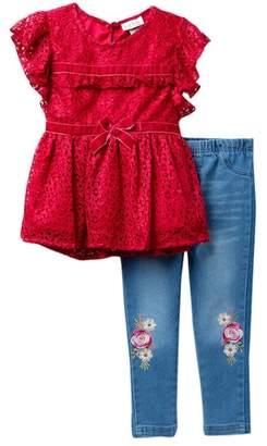 Nicole Miller Lace Top & Jeggings Set (Toddler Girls)