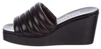 Chanel Leather Slide Wedge Sandals