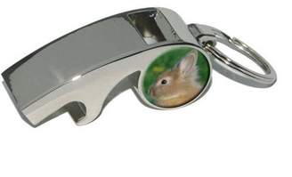 Generic Bunny Rabbit Brown Tan, Easter, Plated Metal Whistle Bottle Opener Keychain Key Ring