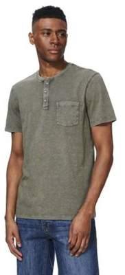 F&F Acid Wash Grandad Collar T-Shirt M