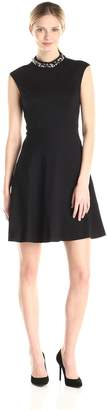 Eliza J Women's Beaded Mock Neck Cap Sleeve Fit and Flare Dress