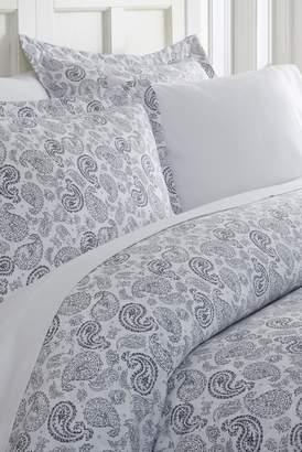 IENJOY HOME Home Spun Premium Ultra Soft 3-Piece Coarse Paisley Print Duvet Cover King Set - Navy