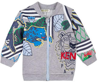 Kenzo Multi-Tiger Zip-Front Fleece Jacket, Size 2-3
