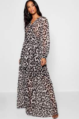 boohoo Tall Sheer Leopard Print Maxi Dress