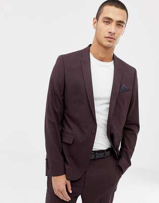 Asos Design DESIGN skinny suit jacket in dark brown