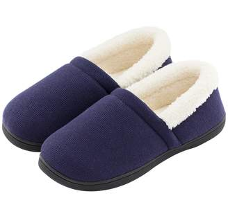 22fe11db72f at Amazon Canada · HomeTop Men s Comfy Fuzzy Knit Cotton Memory Foam House  Shoes Slippers w Indoor