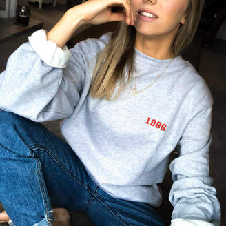 Rock On Ruby Embroidered Personalised 'Year' Unisex Sweatshirt