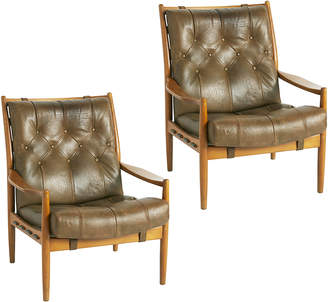 Rejuvenation Pair of Danish Modern Leather Lounge Chairs