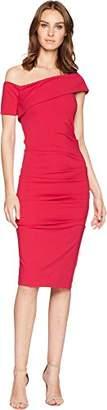 Nicole Miller Women's Structured Heavy Jersey One Sleeve Off Shoulder Dress