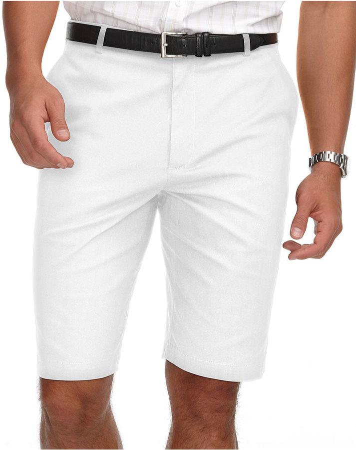 Perry Ellis Shorts, Flat Front Twill Shorts