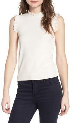 Cupcakes And Cashmere Belen Ruffle Trim Ribbed Tank