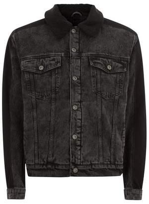 Topman Mens Black Oversized Borg Lined Denim Jacket