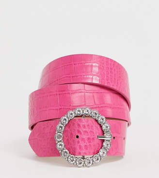 Asos DESIGN Curve circle rhinestone waist and hip belt in pink croc