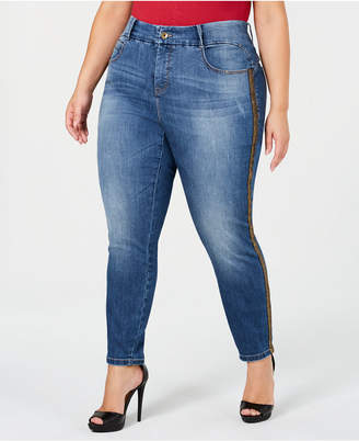 Macy's Ysj Plus Size Gold-Stripe Ankle Jeans, Created for
