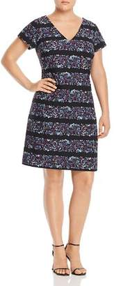 Adrianna Papell Plus Floral Stripe Shift Dress