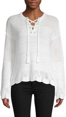 Design History Baha Lace-Up Open Knit Sweater