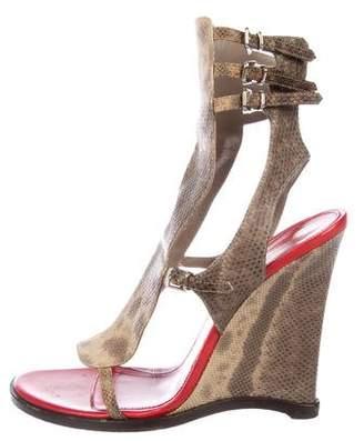Gianvito Rossi Lizard Wedge Sandals