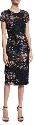 David Meister Short-Sleeve Floral Embroidered Sheath Dress, Black $395 thestylecure.com