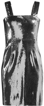 Galvan - Sequined Square Neckline Dress - Womens - Silver