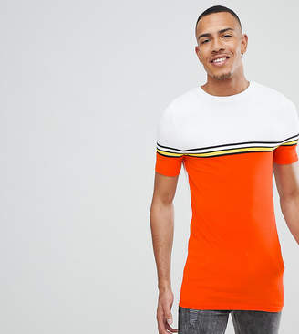Asos Design DESIGN Tall muscle longline t-shirt with bright colour block and taping in orange