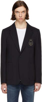 Dolce & Gabbana Navy Embroidered Blazer