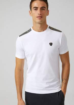 Emporio Armani Ea7 Stretch Cotton T-Shirt With Inserts On The Shoulders