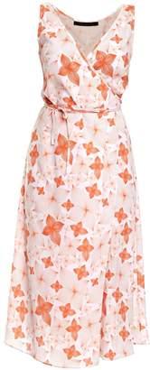 Philosofée - Tangerine Floral Chiffon Mid Wrap Dress